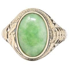 Victorian Jade and 14 Karat Gold Ring S. Komai