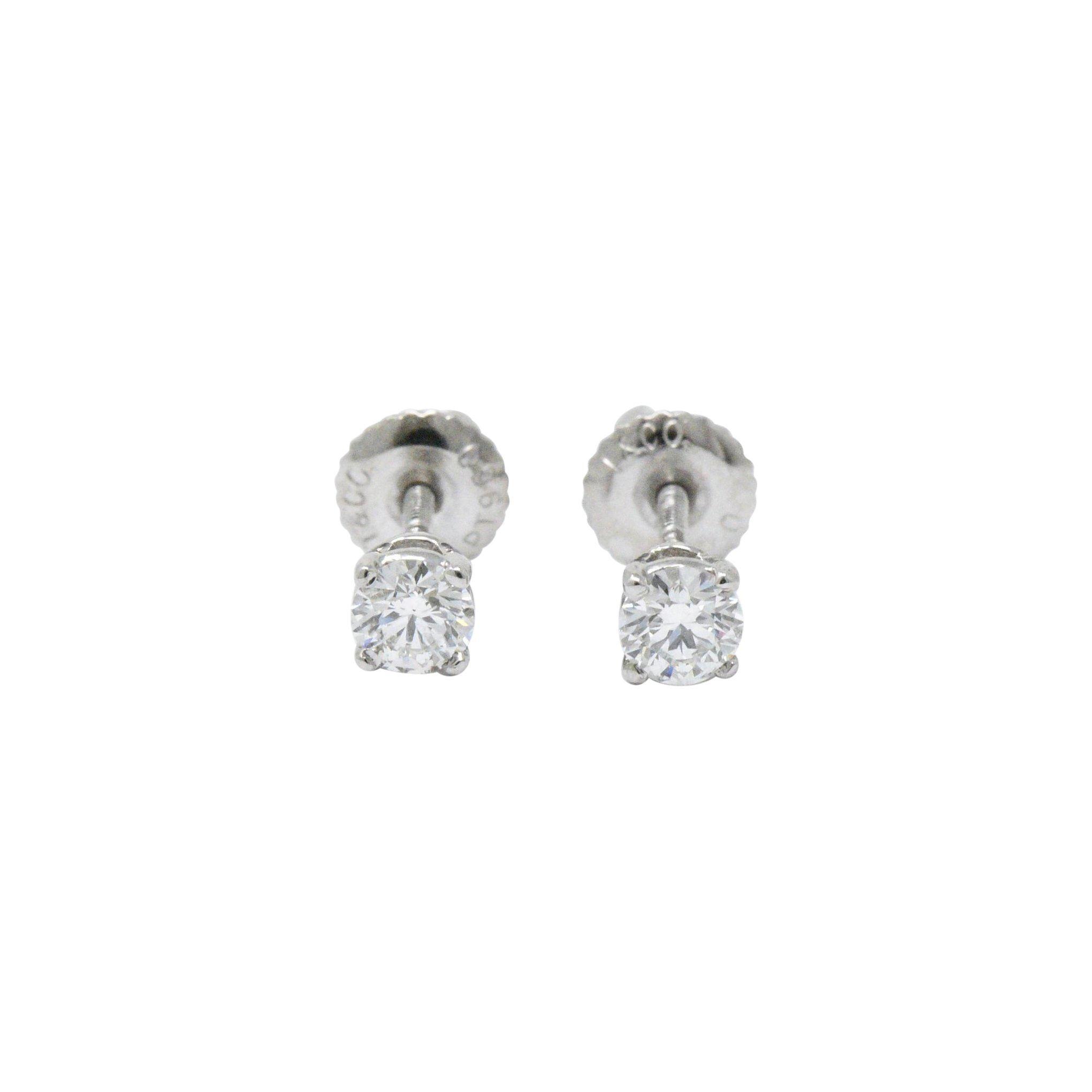 2611f3642 Tiffany and Co. .48 Carat Diamond Platinum Studs Earrings at 1stdibs