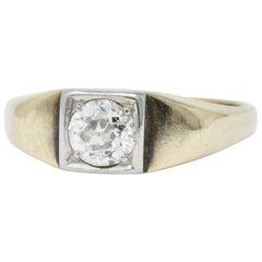 Retro 0.45 Carat Diamond Platinum and 14 Karat Gold Solitaire Engagement Ring