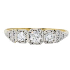 Saunders Late Victorian 0.40 CTW Diamond And Platinum-Topped 18 Karat Gold Ring