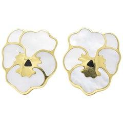 Tiffany & Co. Angela Cummings Onyx Mother-of-Pearl 18 Karat Gold Pansy Earrings