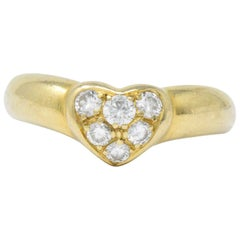 Tiffany & Co. 0.25 Carat Total Diamond and 18 Karat Gold Heart Ring