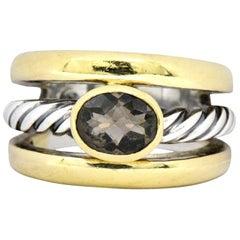 David Yurman Contemporary Smoky Quartz 18 Karat Gold Sterling Silver Ring