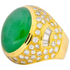 Contemporary Jadeite Jade Diamond 18 Karat Gold Large Cocktail Ring GIA