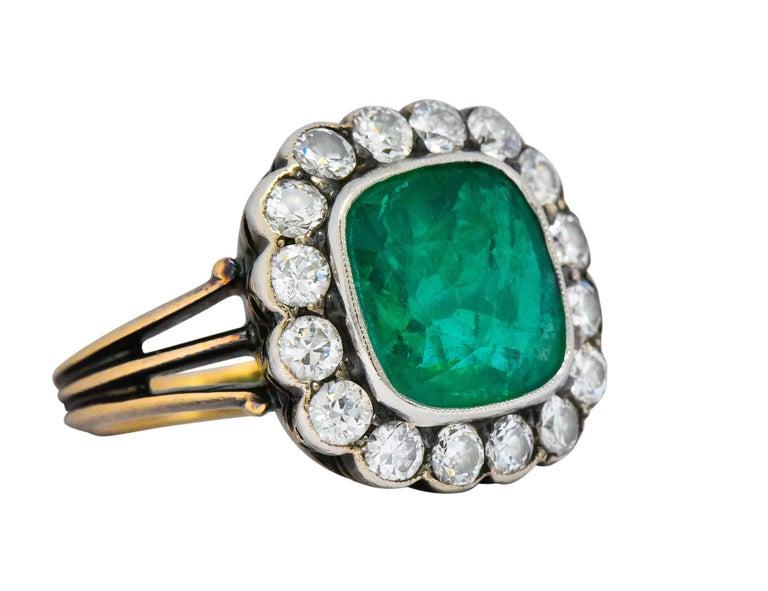 High Victorian Victorian 4.85 Carat Emerald Diamond Silver-Topped 14 Karat Gold Ring circa 1880 For Sale