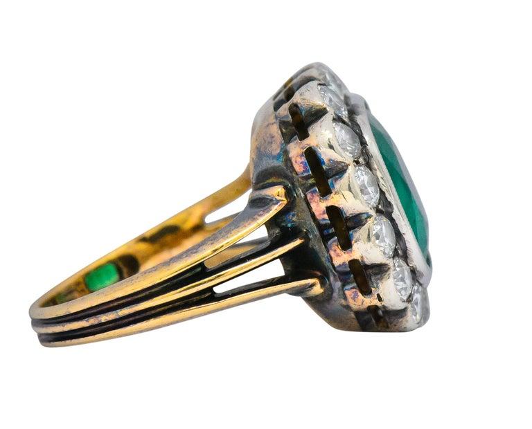 Round Cut Victorian 4.85 Carat Emerald Diamond Silver-Topped 14 Karat Gold Ring circa 1880 For Sale