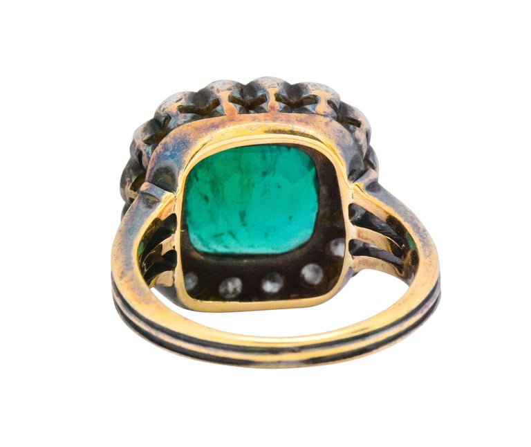 Victorian 4.85 Carat Emerald Diamond Silver-Topped 14 Karat Gold Ring circa 1880 In Excellent Condition For Sale In Philadelphia, PA
