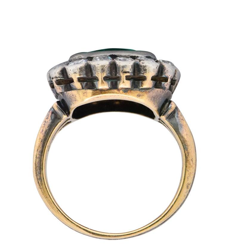 Women's or Men's Victorian 4.85 Carat Emerald Diamond Silver-Topped 14 Karat Gold Ring circa 1880 For Sale