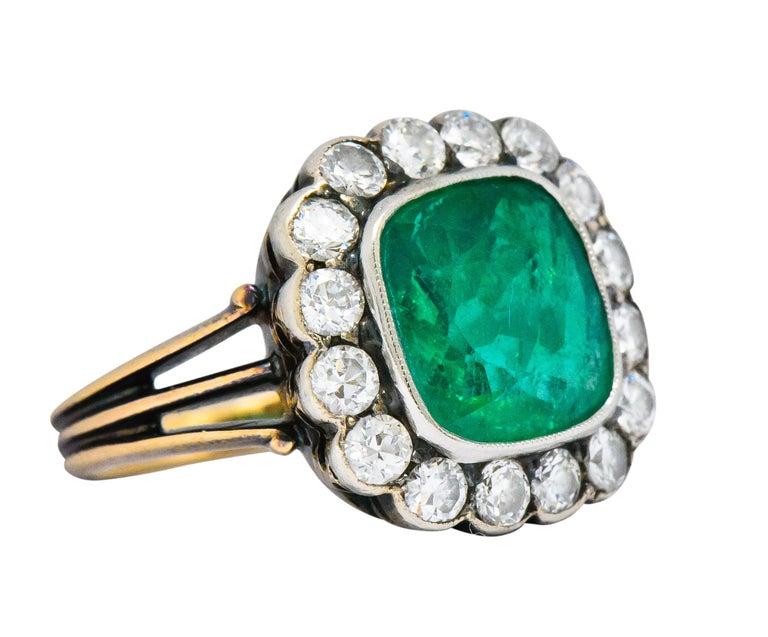 Victorian 4.85 Carat Emerald Diamond Silver-Topped 14 Karat Gold Ring circa 1880 For Sale 1