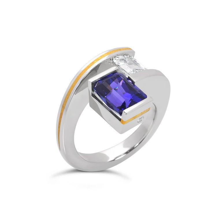 Steven Kretchmer 2-Stein-Helix-Ring mit Tansanit und Diamantbesatz  2