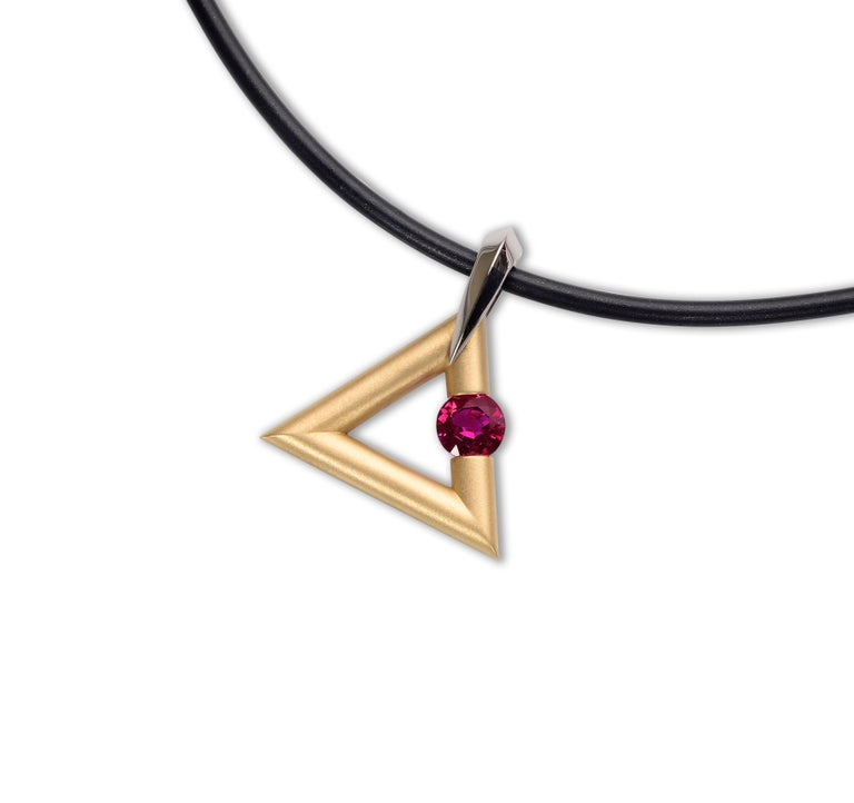 Round Cut Steven Kretchmer 18K Yellow Gold Logo Pendant with a Tension-Set 0.63ct. Ruby  For Sale