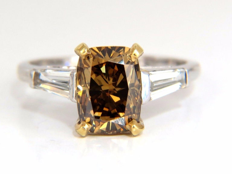 Cushion Cut GIA Certified 2.59 Carat Fancy Yellow Brown Diamond Ring Platinum For Sale