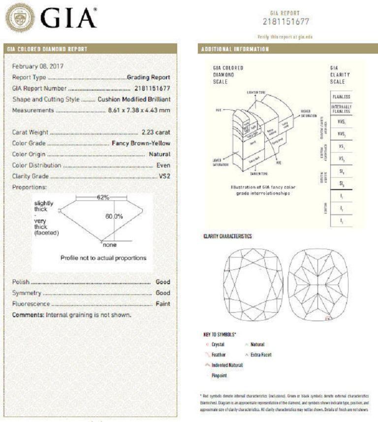 Cushion Cut GIA Certified 2.99 Carat Fancy Brown Yellow Diamond Ring Halo Cluster 18 Karat For Sale