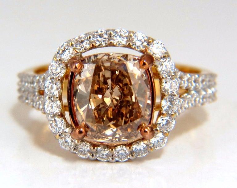 Women's or Men's GIA Certified 2.99 Carat Fancy Brown Yellow Diamond Ring Halo Cluster 18 Karat For Sale