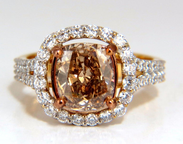 GIA Certified 2.99 Carat Fancy Brown Yellow Diamond Ring Halo Cluster 18 Karat For Sale 1