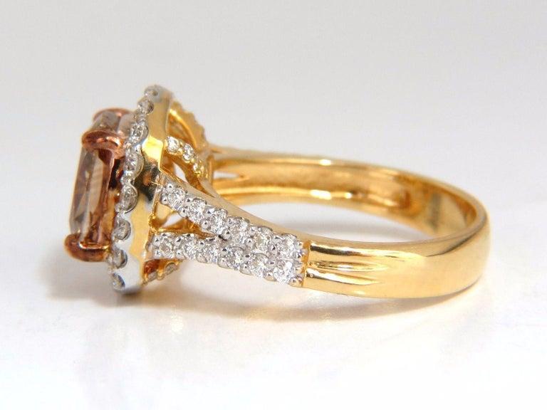 GIA Certified 2.99 Carat Fancy Brown Yellow Diamond Ring Halo Cluster 18 Karat For Sale 2
