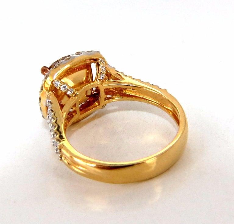 GIA Certified 2.99 Carat Fancy Brown Yellow Diamond Ring Halo Cluster 18 Karat For Sale 3