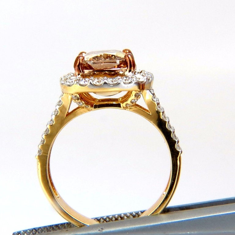 GIA Certified 2.99 Carat Fancy Brown Yellow Diamond Ring Halo Cluster 18 Karat For Sale 4