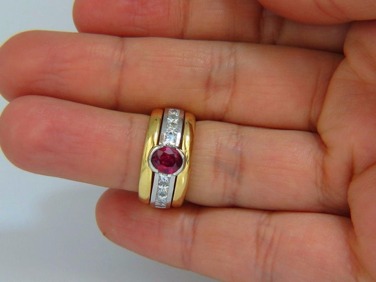 GIA Certified 2.13 Carat No Heat Ruby Diamonds Ring 18 Karat and Platinum Fused For Sale 1