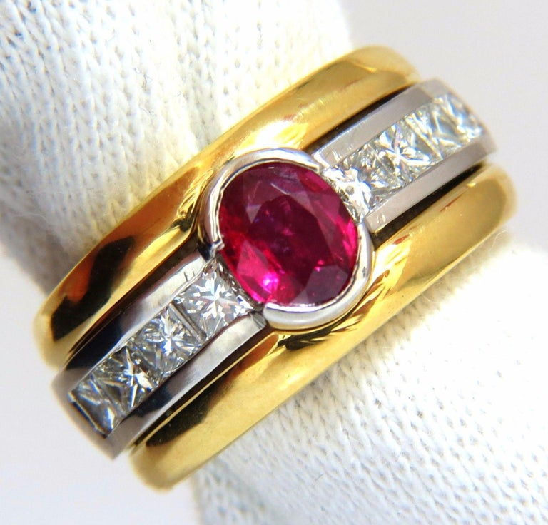 GIA Certified 2.13 Carat No Heat Ruby Diamonds Ring 18 Karat and Platinum Fused For Sale 2