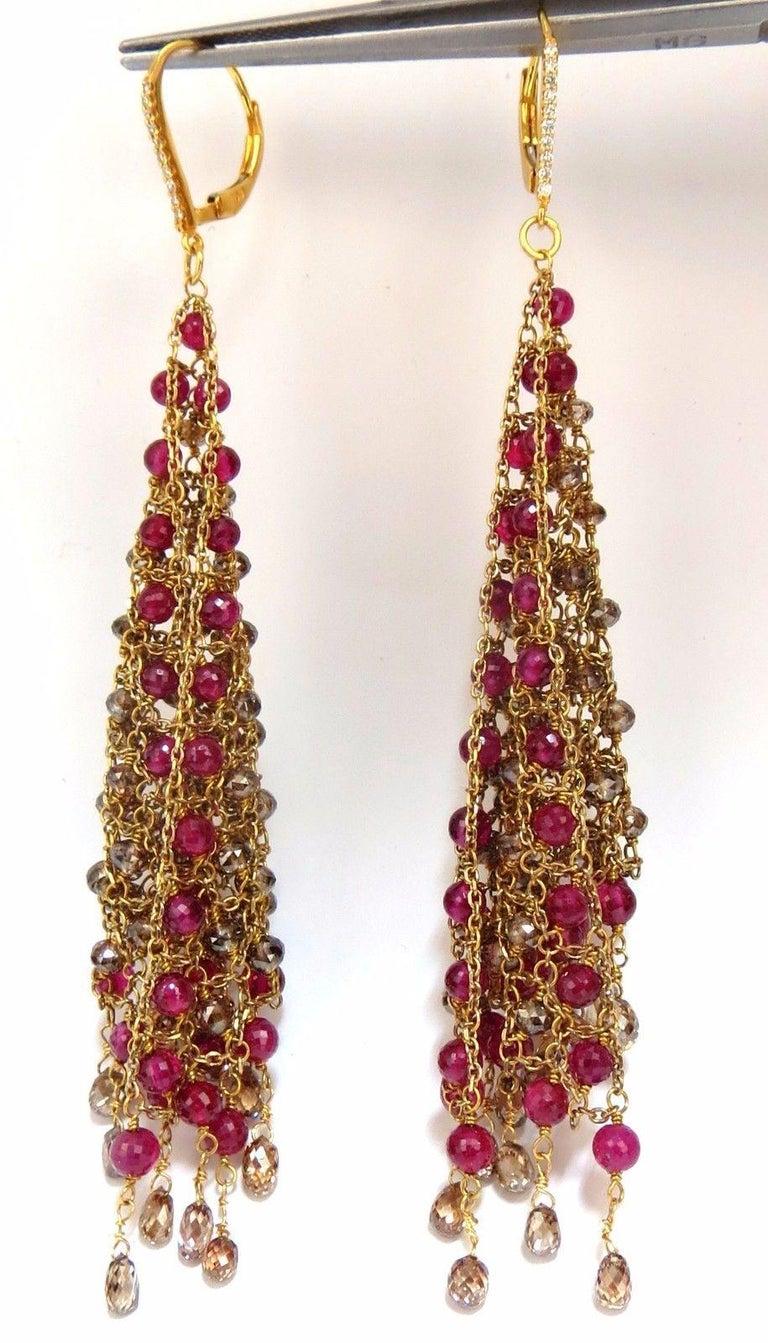 Floating Curtain / Flat Mesh   Fancy Color Diamonds Briolette & Ruby Earrings  17.07cts of Rose Cut / Briolette diamonds:   Fancy Brown Cinnamon / Buckwheat Honey Color,   Vs-2 Si-1 clarity.  (6.28ct larger lower briolette drop diamonds)  Fancy