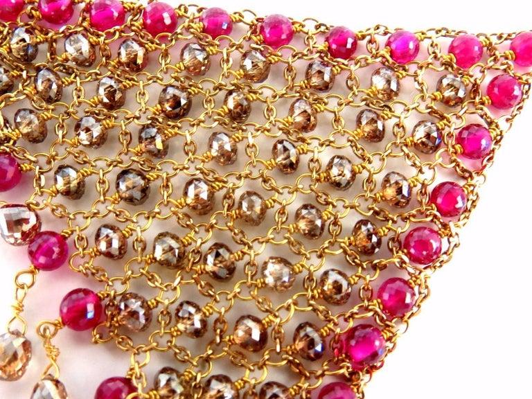 Women's or Men's 37.20ct Natural Fancy color briolette diamond dangle earrings 18kt Curtain Mesh For Sale