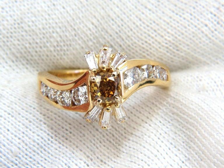 Cushion Cut 1.62 Carat Natural Fancy Color Diamond Ring 14 Karat For Sale