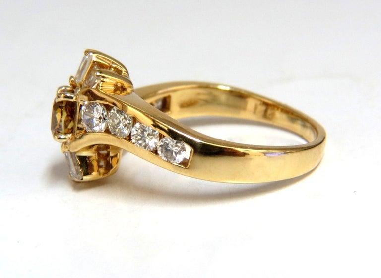 Women's or Men's 1.62 Carat Natural Fancy Color Diamond Ring 14 Karat For Sale