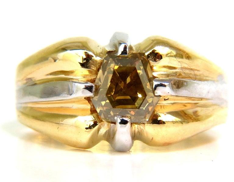 Women's or Men's GIA Natural Fancy Green Yellow Brown 1.00 Carat Diamond Ring 18 Karat For Sale