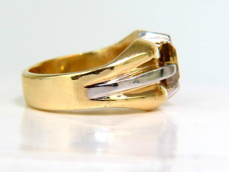 GIA Natural Fancy Green Yellow Brown 1.00 Carat Diamond Ring 18 Karat For Sale 1