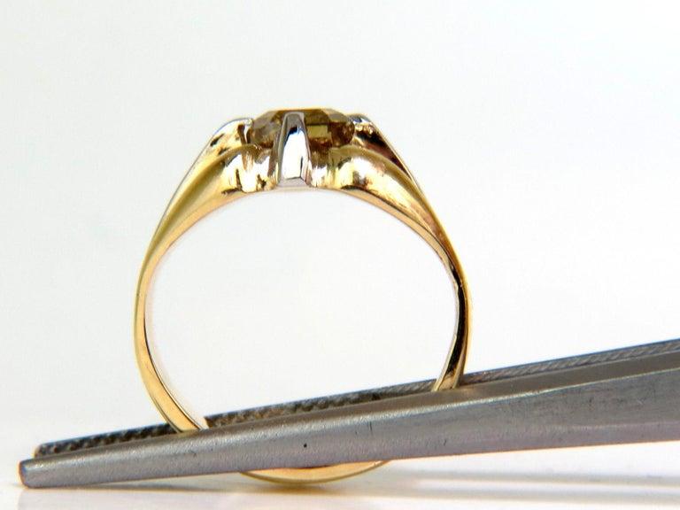 GIA Natural Fancy Green Yellow Brown 1.00 Carat Diamond Ring 18 Karat For Sale 2