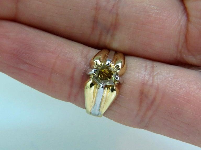 GIA Natural Fancy Green Yellow Brown 1.00 Carat Diamond Ring 18 Karat For Sale 4