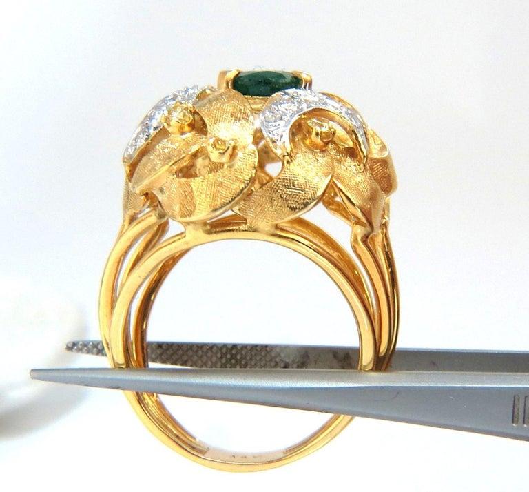 Oval Cut 2.08 Carat Natural Oval Emerald Diamond Ring 14 Karat Florentine Dome For Sale