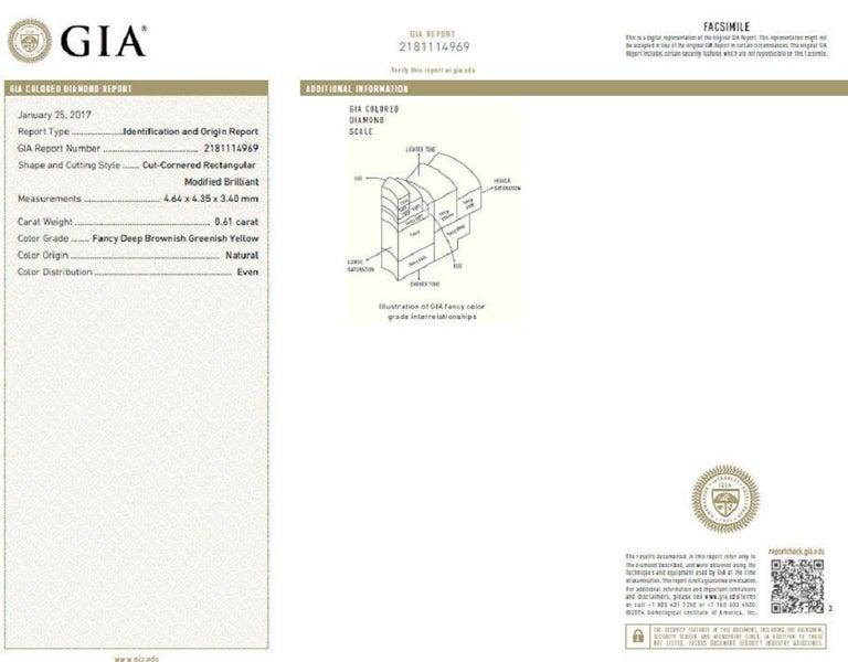Women's or Men's GIA Certified Natural Fancy Color Diamond Ring 14 Karat Buckle Deco For Sale