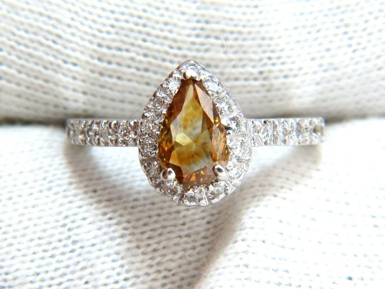Pear Cut 1.60 Carat Natural Fancy Color Yellow Brown Diamonds Halo Ring 14 Karat For Sale