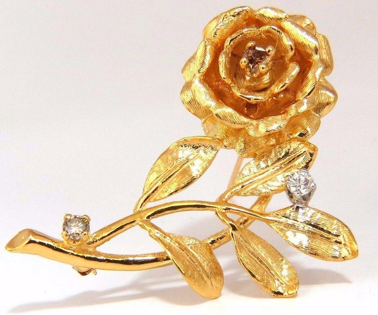 Raised 3D Classic Rose Flower pin  .65ct. diamonds  Natural Fancy Yellow Brown & White  Rounds, Full cut Brilliant.  G-color Vs-2 clarity.  14kt yellow gold   11.5 grams.  Overall: 1.8 X 1.2 inch  Excellent made