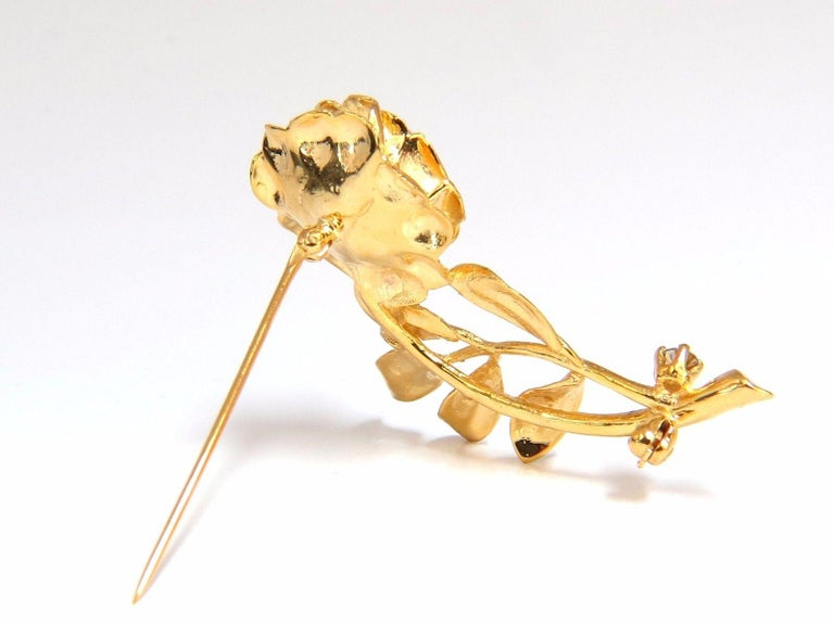 .65CT Natural Fancy Color Yellow Brown Diamonds Raised 3D Rose Pin 14KT Branch For Sale 1