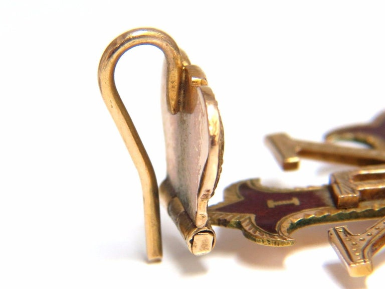 Women's or Men's 14 Karat Gold Antique Medalion Charm / Pendant For Sale