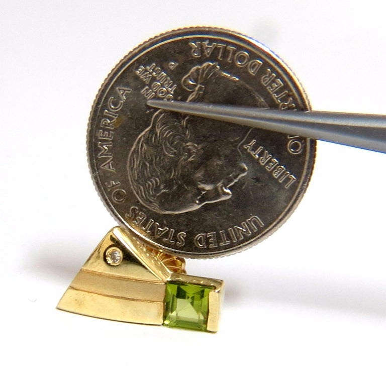 1.04 Carat Natural Asscher Cut Peridot Diamonds Modern Earrings 14 Karat In New Condition For Sale In New York, NY
