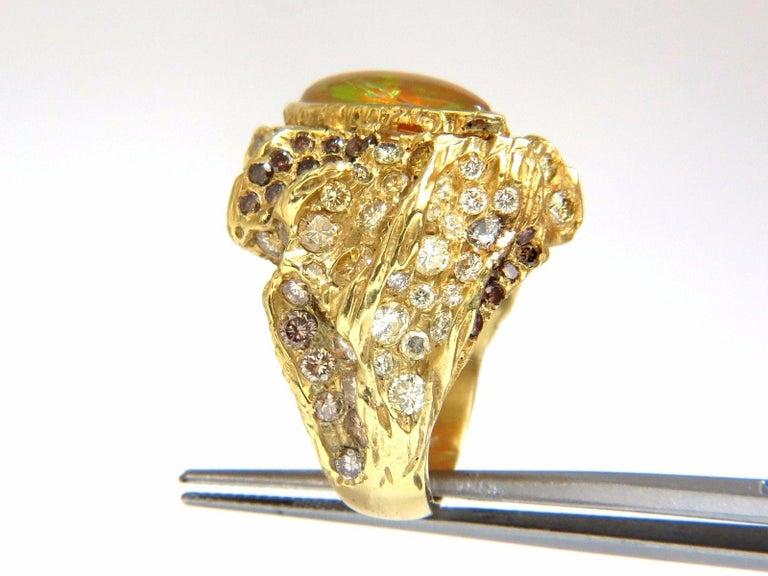 12.25 Carat Natural Opal Diamonds Ring 18 Karat Nugget Deco For Sale 1