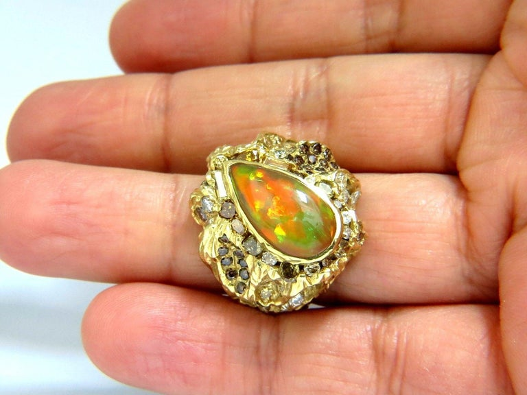 12.25 Carat Natural Opal Diamonds Ring 18 Karat Nugget Deco For Sale 3