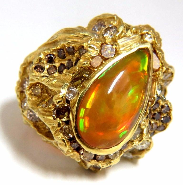 12.25 Carat Natural Opal Diamonds Ring 18 Karat Nugget Deco For Sale 4