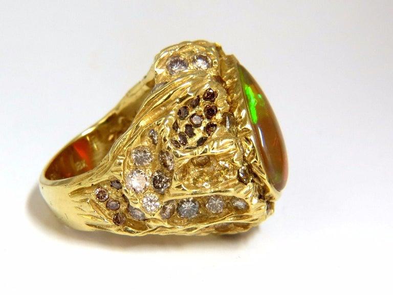 12.25 Carat Natural Opal Diamonds Ring 18 Karat Nugget Deco For Sale 5