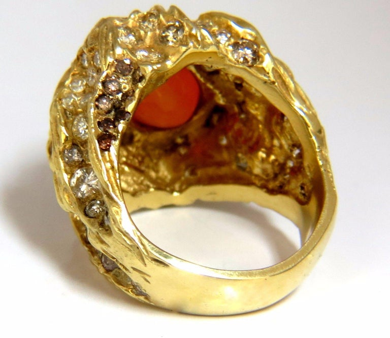 12.25 Carat Natural Opal Diamonds Ring 18 Karat Nugget Deco For Sale 6