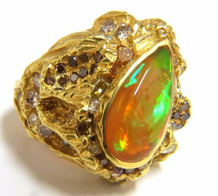 12.25 Carat Natural Opal Diamonds Ring 18 Karat Nugget Deco For Sale 7