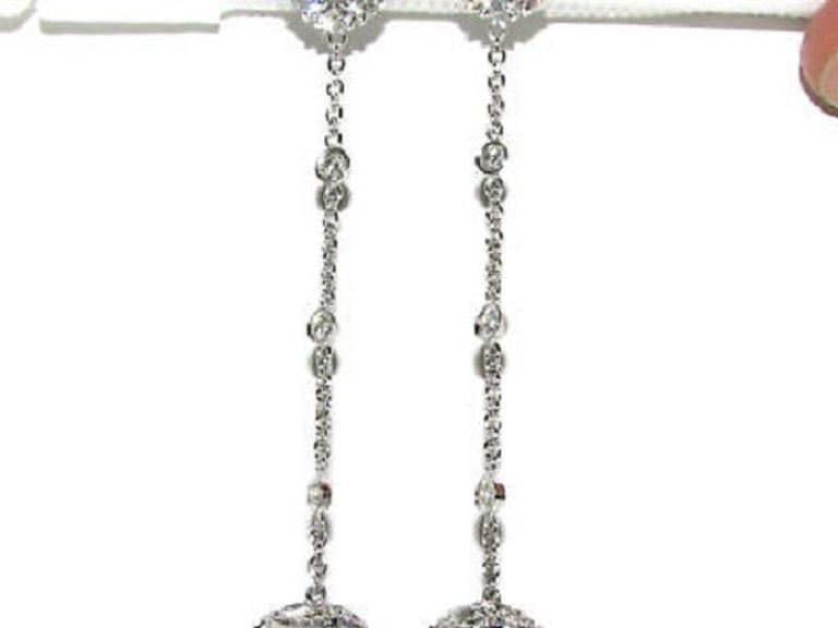 Black White South Sea and Tahitian Pearl Diamond Earrings Cluster For Sale 1