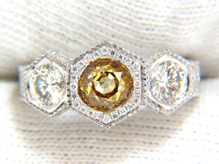 Women's or Men's GIA 2.30 Carat Fancy Yellow Brown Diamonds Ring 18 Karat Edwardian Crown Deco For Sale