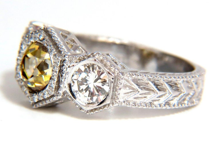 GIA 2.30 Carat Fancy Yellow Brown Diamonds Ring 18 Karat Edwardian Crown Deco For Sale 6