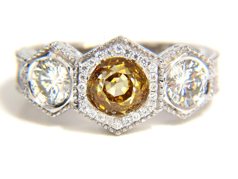 GIA 2.30 Carat Fancy Yellow Brown Diamonds Ring 18 Karat Edwardian Crown Deco For Sale 7