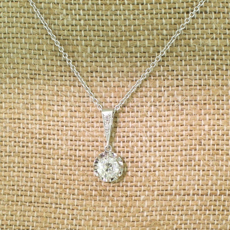 Art Deco 1.02 Carat Old European Cut Diamond Platinum Pendant In Good Condition For Sale In Essex, GB